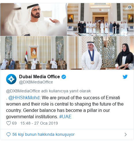 @DXBMediaOffice tarafından yapılan Twitter paylaşımı: . @HHShkMohd  We are proud of the success of Emirati women and their role is central to shaping the future of the country. Gender balance has become a pillar in our governmental institutions. #UAE