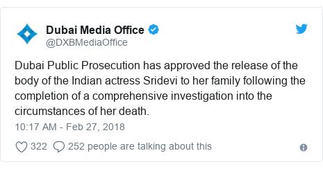د @DXBMediaOffice په مټ ټویټر تبصره: Dubai Public Prosecution has approved the release of the body of the Indian actress Sridevi to her family following the completion of a comprehensive investigation into the circumstances of her death.