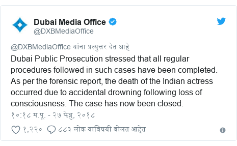 Twitter post by @DXBMediaOffice: Dubai Public Prosecution stressed that all regular procedures followed in such cases have been completed. As per the forensic report, the death of the Indian actress occurred due to accidental drowning following loss of consciousness. The case has now been closed.
