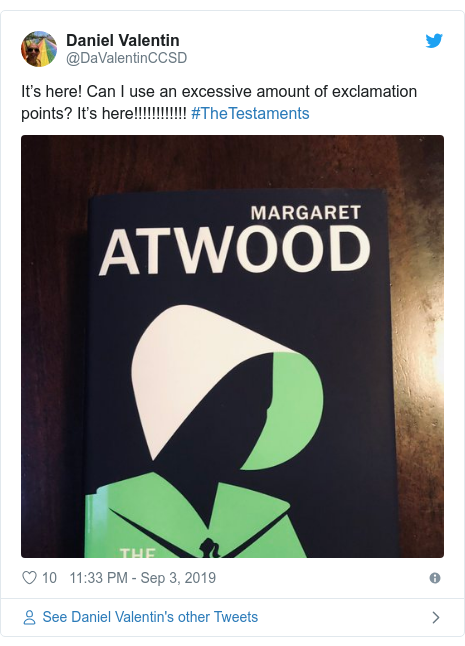 Twitter post by @DaValentinCCSD: It's here! Can I use an excessive amount of exclamation points? It's here!!!!!!!!!!!! #TheTestaments