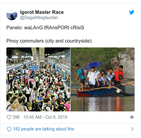 Twitter post by @DagaANagtaudan: Panelo  waLAnG tRAnsPORt cRisiS Pinoy commuters (city and countryside)