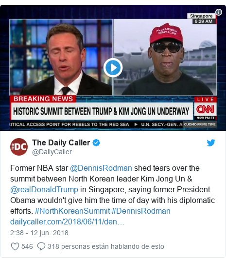 Publicación de Twitter por @DailyCaller: Former NBA star @DennisRodman shed tears over the summit between North Korean leader Kim Jong Un & @realDonaldTrump in Singapore, saying former President Obama wouldn't give him the time of day with his diplomatic efforts. #NorthKoreanSummit #DennisRodman
