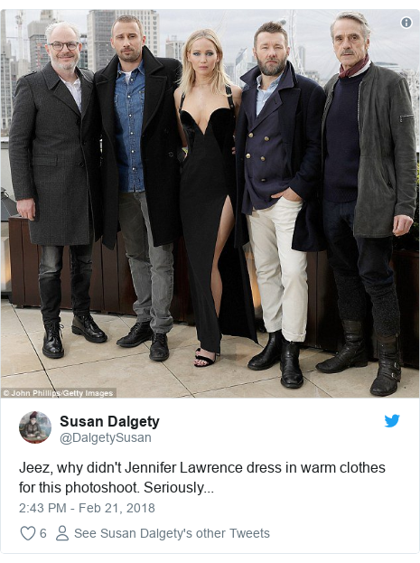 Twitter post by @DalgetySusan: Jeez, why didn't Jennifer Lawrence dress in warm clothes for this photoshoot. Seriously...