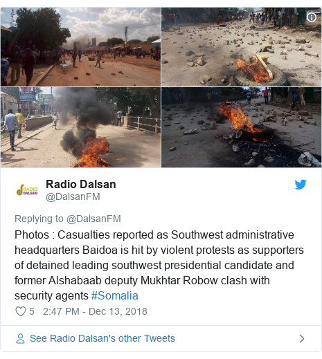 Twitter post by @DalsanFM: Photos   Casualties reported as Southwest administrative headquarters Baidoa is hit by violent protests as supporters of detained leading southwest presidential candidate and former Alshabaab deputy Mukhtar Robow clash with security agents #Somalia