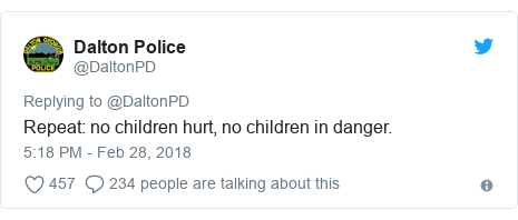 Twitter post by @DaltonPD: Repeat  no children hurt, no children in danger.