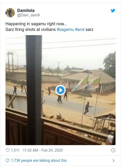 Twitter post by @Dam_dam9: Happening in sagamu right now..Sarz firing shots at civilians #sagamu #end sarz