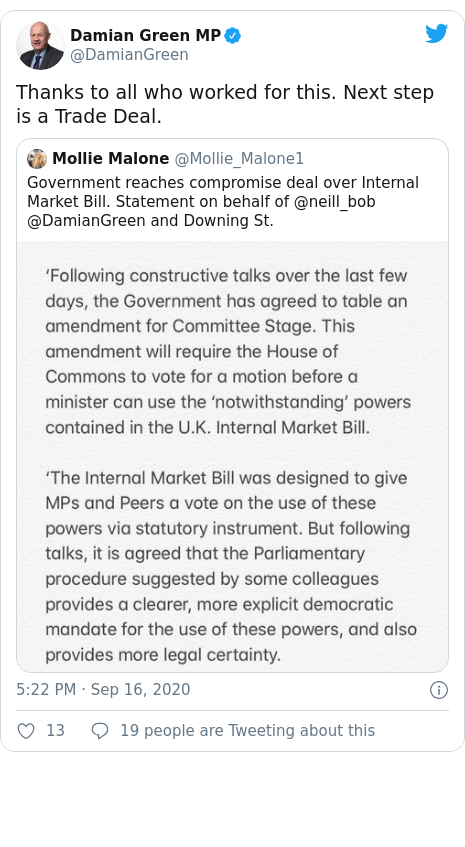 Twitter post by @DamianGreen: Thanks to all who worked for this. Next step is a Trade Deal.
