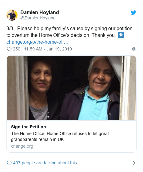 Twitter post by @DamienHoyland: 3/3 - Please help my family's cause by signing our petition to overturn the Home Office's decision. Thank you. ⬇️