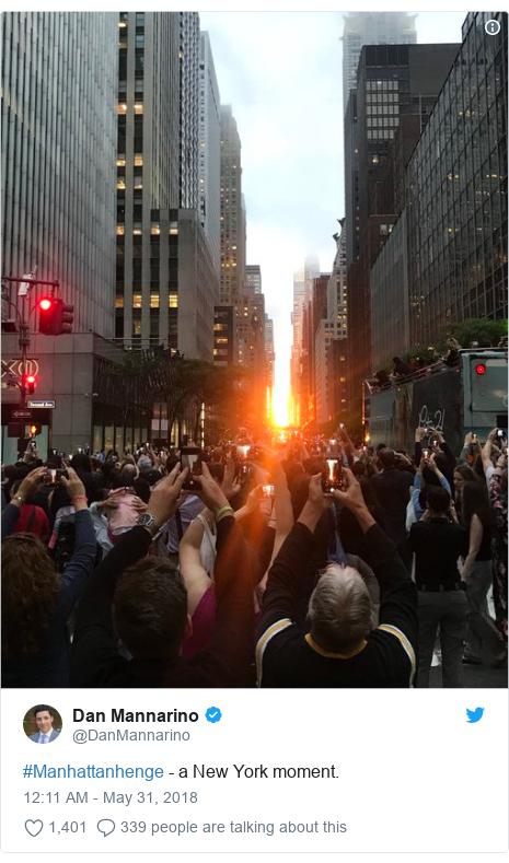 Twitter post by @DanMannarino: #Manhattanhenge - a New York moment.