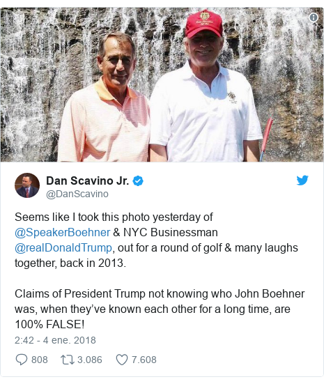 Publicación de Twitter por @DanScavino: Seems like I took this photo yesterday of @SpeakerBoehner & NYC Businessman @realDonaldTrump, out for a round of golf & many laughs together, back in 2013.Claims of President Trump not knowing who John Boehner was, when they've known each other for a long time, are 100% FALSE!