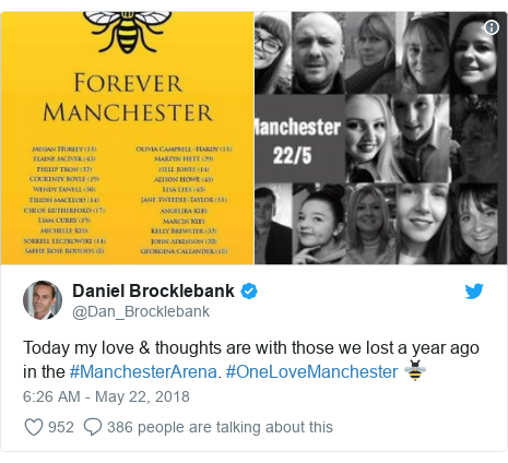 Twitter post by @Dan_Brocklebank: Today my love & thoughts are with those we lost a year ago in the #ManchesterArena. #OneLoveManchester 🐝