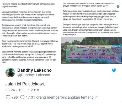 Twitter pesan oleh @Dandhy_Laksono: Jalan tol Pak Jokowi.