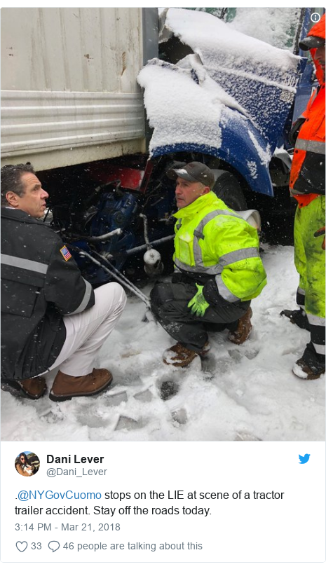 Twitter post by @Dani_Lever: .@NYGovCuomo stops on the LIE at scene of a tractor trailer accident. Stay off the roads today.
