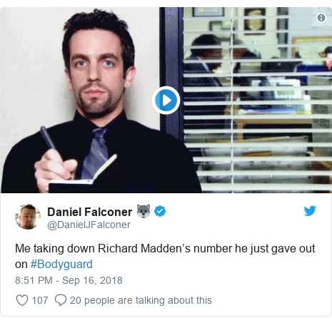 Twitter post by @DanielJFalconer: Me taking down Richard Madden's number he just gave out on #Bodyguard
