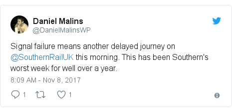 Twitter post by @DanielMalinsWP: Signal failure means another delayed journey on @SouthernRailUK this morning. This has been Southern's worst week for well over a year.