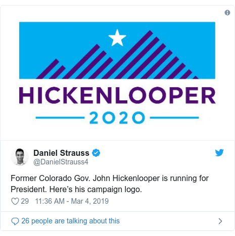 Twitter post by @DanielStrauss4: Former Colorado Gov. John Hickenlooper is running for President. Here's his campaign logo.