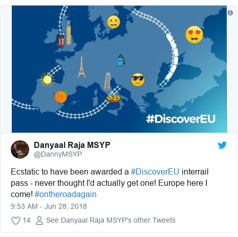 Twitter post by @DannyMSYP: Ecstatic to have been awarded a #DiscoverEU interrail pass - never thought I'd actually get one! Europe here I come! #ontheroadagain