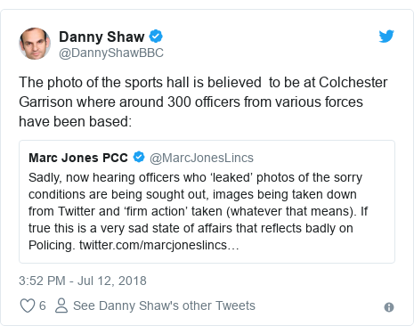 Twitter post by @DannyShawBBC: The photo of the sports hall is believed  to be at Colchester Garrison where around 300 officers from various forces have been based