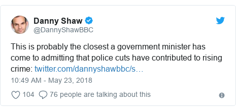Twitter post by @DannyShawBBC: This is probably the closest a government minister has come to admitting that police cuts have contributed to rising crime