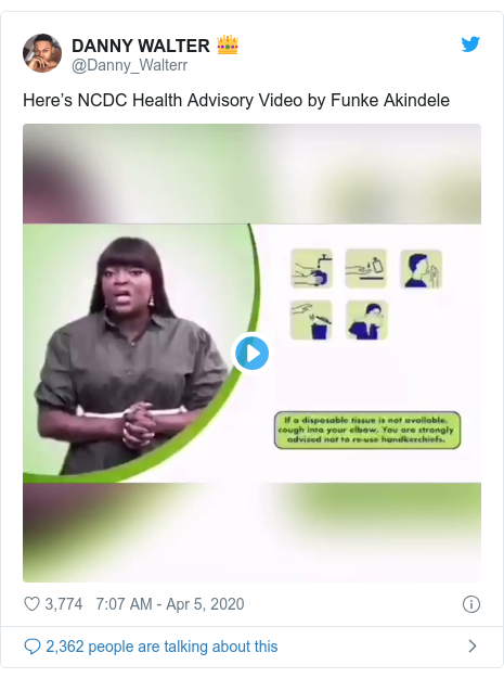 Twitter post by @Danny_Walterr: Here's NCDC Health Advisory Video by Funke Akindele
