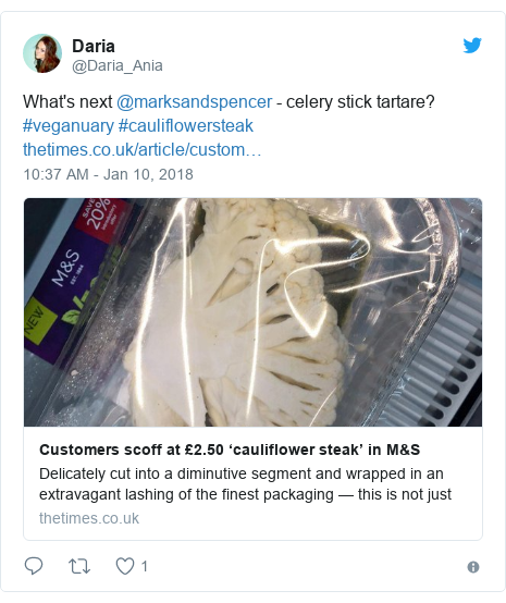 Twitter post by @Daria_Ania: What's next @marksandspencer - celery stick tartare? #veganuary #cauliflowersteak