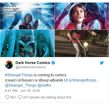 Twitter post by @DarkHorseComics: #StrangerThings is coming to comics sɔᴉɯoɔ oʇ ƃuᴉɯoɔ sᴉ sƃuᴉɥʇ ɹǝƃuɐɹʇs @Stranger_Things @netflix