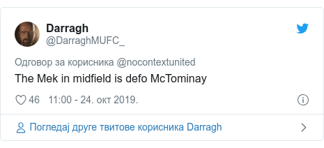 Twitter post by @DarraghMUFC_: The Mek in midfield is defo McTominay