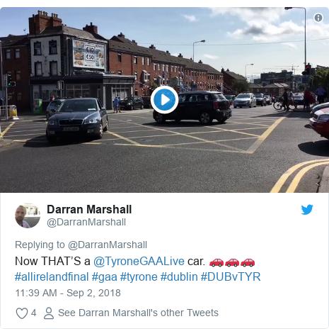 Twitter post by @DarranMarshall: Now THAT'S a @TyroneGAALive car. 🚗🚗🚗#allirelandfinal #gaa #tyrone #dublin #DUBvTYR
