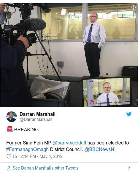 Twitter post by @DarranMarshall: 🚨 BREAKING Former Sinn Féin MP @barrymcelduff has been elected to #FermanaghOmagh District Council. @BBCNewsNI