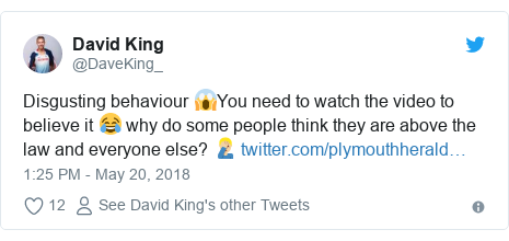 Twitter post by @DaveKing_: Disgusting behaviour 😱You need to watch the video to believe it 😂 why do some people think they are above the law and everyone else? 🤦🏼‍♂️