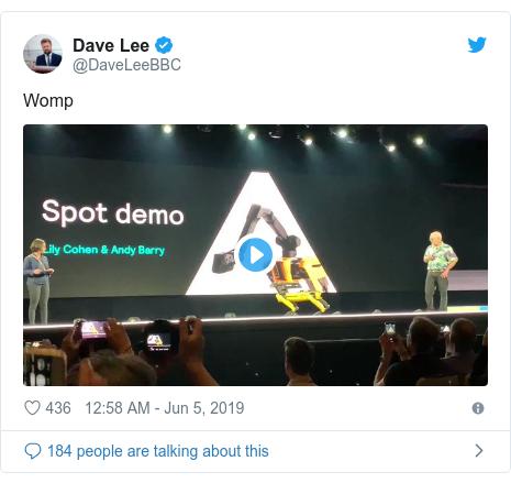 Twitter post by @DaveLeeBBC: Womp