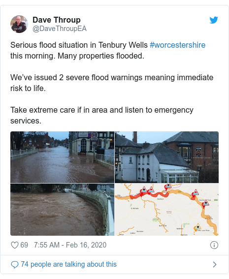 Twitter post by @DaveThroupEA: Serious flood situation in Tenbury Wells #worcestershire this morning. Many properties flooded.We've issued 2 severe flood warnings meaning immediate risk to life.Take extreme care if in area and listen to emergency services.
