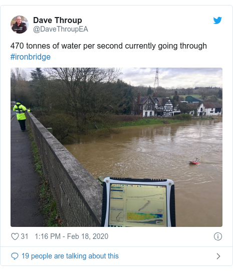 Twitter post by @DaveThroupEA: 470 tonnes of water per second currently going through #ironbridge