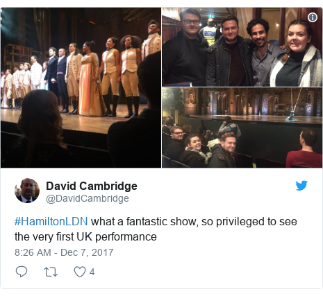 Twitter post by @DavidCambridge: #HamiltonLDN what a fantastic show, so privileged to see the very first UK performance