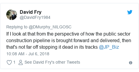 Twitter post by @DavidFry1984: If I look at that from the perspective of how the public sector construction pipeline is brought forward and delivered, then that's not far off stopping it dead in its tracks @JP_Biz