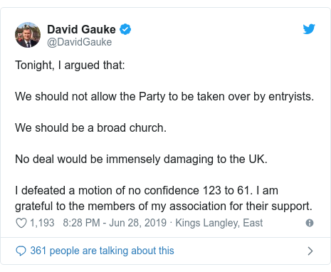 Twitter post by @DavidGauke: Tonight, I argued that We should not allow the Party to be taken over by entryists.We should be a broad church.No deal would be immensely damaging to the UK.I defeated a motion of no confidence 123 to 61. I am grateful to the members of my association for their support.