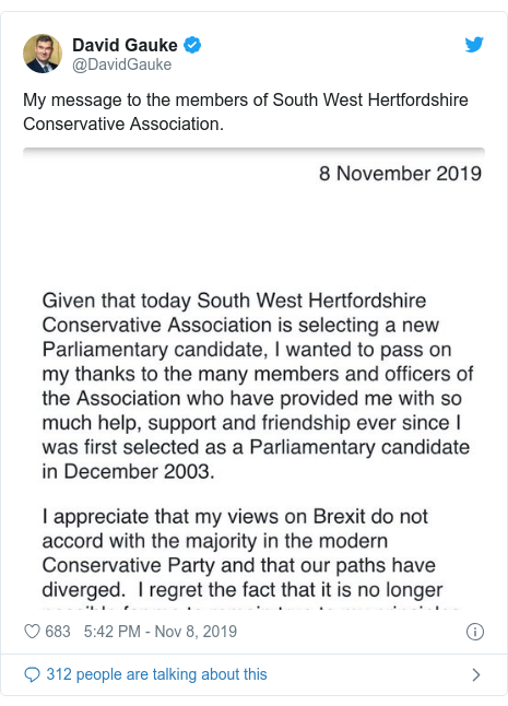 Twitter post by @DavidGauke: My message to the members of South West Hertfordshire Conservative Association.