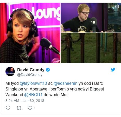 Neges Twitter gan @DavidGrundy: Mi fydd @taylorswift13 ac @edsheeran yn dod i Barc Singleton yn Abertawe i berfformio yng ngŵyl Biggest Weekend @BBCR1 ddiwedd Mai