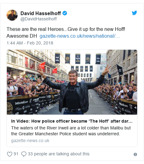 Twitter post by @DavidHasselhoff: These are the real Heroes...Give it up for the new Hoff! Awesome DH
