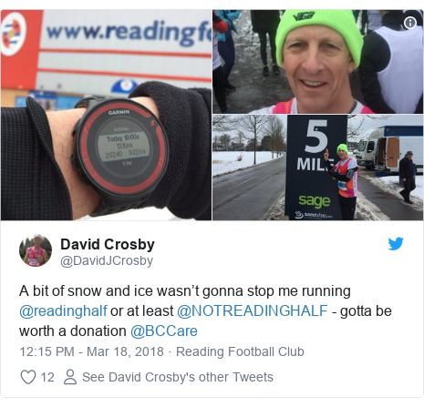 Twitter post by @DavidJCrosby: A bit of snow and ice wasn't gonna stop me running @readinghalf or at least @NOTREADINGHALF - gotta be worth a donation @BCCare