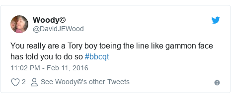 Twitter post by @DavidJEWood: You really are a Tory boy toeing the line like gammon face has told you to do so #bbcqt