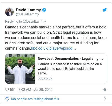 Twitter post by @DavidLammy: Canada's cannabis market is not perfect, but it offers a bold framework we can build on. Strict legal regulation is how we can reduce social and health harms to a minimum, keep our children safe, and cut a major source of funding for criminal gangs.