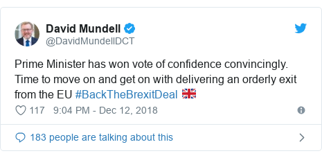 Twitter post by @DavidMundellDCT: Prime Minister has won vote of confidence convincingly. Time to move on and get on with delivering an orderly exit from the EU #BackTheBrexitDeal 🇬🇧