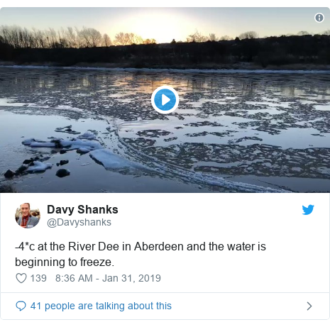 Twitter post by @Davyshanks: -4*c at the River Dee in Aberdeen and the water is beginning to freeze.