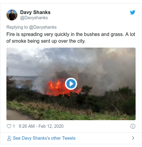 Twitter post by @Davyshanks: Fire is spreading very quickly in the bushes and grass. A lot of smoke being sent up over the city.