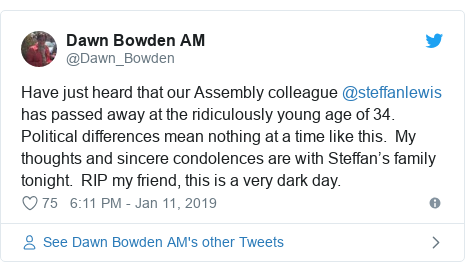 Neges Twitter gan @Dawn_Bowden: Have just heard that our Assembly colleague @steffanlewis has passed away at the ridiculously young age of 34. Political differences mean nothing at a time like this.  My thoughts and sincere condolences are with Steffan's family tonight.  RIP my friend, this is a very dark day.