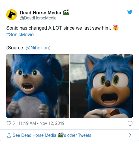 Twitter post by @DeadHorseMedia: Sonic has changed A LOT since we last saw him. 🤯 #SonicMovie (Source  @Nibellion)