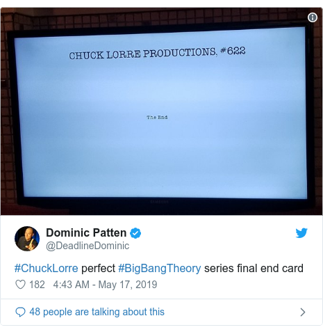 Twitter post by @DeadlineDominic: #ChuckLorre perfect #BigBangTheory series final end card