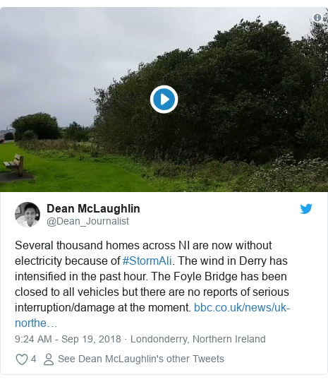 Twitter post by @Dean_Journalist: Several thousand homes across NI are now without electricity because of #StormAli. The wind in Derry has intensified in the past hour. The Foyle Bridge has been closed to all vehicles but there are no reports of serious interruption/damage at the moment.