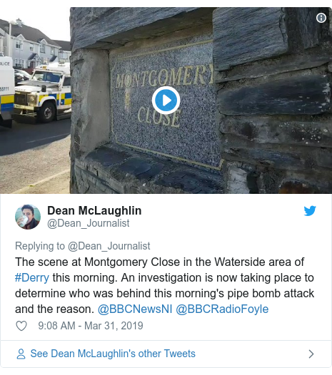 Twitter post by @Dean_Journalist: The scene at Montgomery Close in the Waterside area of #Derry this morning. An investigation is now taking place to determine who was behind this morning's pipe bomb attack and the reason. @BBCNewsNI @BBCRadioFoyle